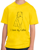 Youth Yellow I Love my Collie - Collie Dog Breed Owner Lover Parent Cute Fun T-shirt