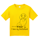 Youth Yellow I Love my Dachshund - Weiner Dog Dachshund Love Owner Cute Fun T-shirt