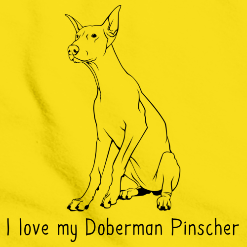 I Love My Doberman Pinscher Yellow Art Preview