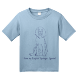Youth Light Blue I Love my English Springer Spaniel - English Springer Spaniel T-shirt