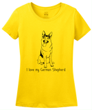 Ladies Yellow I Love my German Shepherd - German Shepherd Owner Love Dog Gift T-shirt