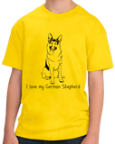 Youth Yellow I Love my German Shepherd - German Shepherd Owner Love Dog Gift T-shirt