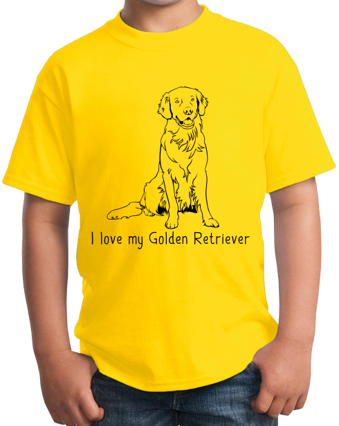 Youth Yellow I Love my Golden Retriever - Golden Retriever Owner Lover Dog T-shirt