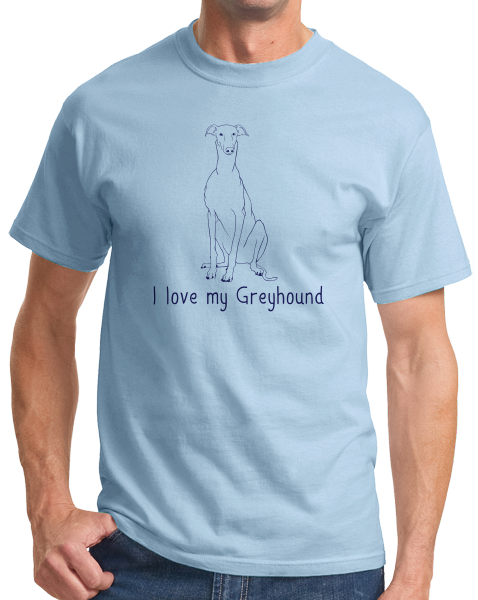 Standard Light Blue I Love my Greyhound - Greyhound Lover Rescue Love Dog Cute Owner T-shirt