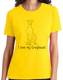 Ladies Yellow I Love my Greyhound - Greyhound Lover Rescue Love Dog Cute Owner T-shirt