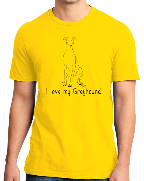 Standard Yellow I Love my Greyhound - Greyhound Lover Rescue Love Dog Cute Owner T-shirt