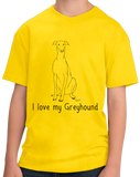 Youth Yellow I Love my Greyhound - Greyhound Lover Rescue Love Dog Cute Owner T-shirt