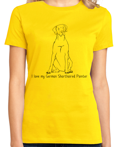 Ladies Yellow I Love my German Shorthaired Pointer - German Pointer Owner Cute T-shirt