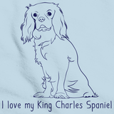 I Love my King Charles Spaniel Light blue art preview