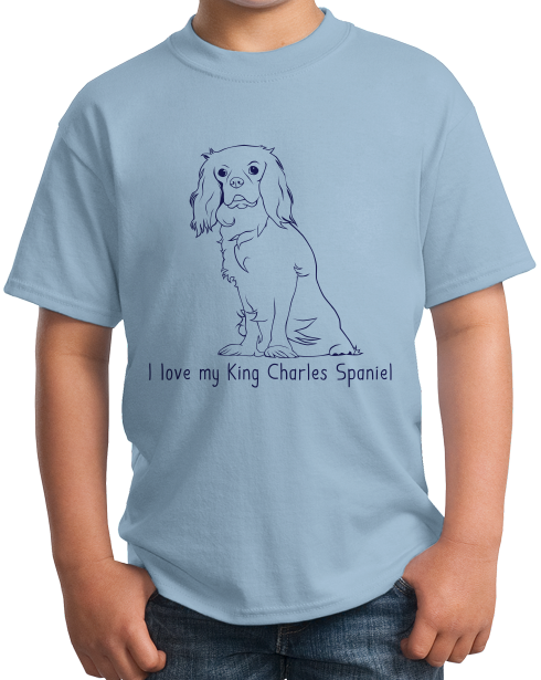 Youth Light Blue I Love my King Charles Spaniel - King Charles Spaniel Owner Love T-shirt