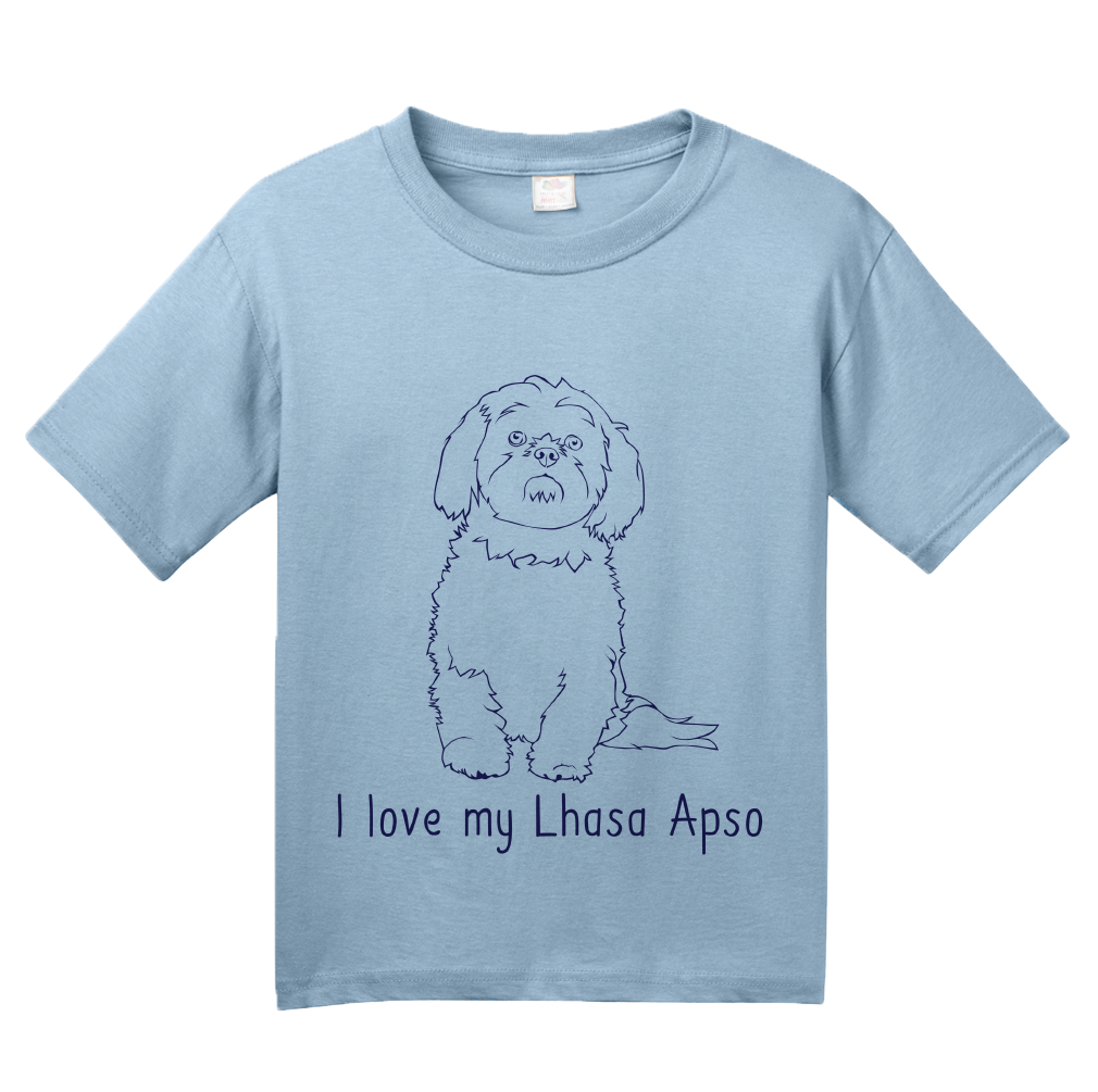 Youth Light Blue I Love my Lhasa Apso - Lhasa Apso Owner Lover Parent Cute Dog T-shirt