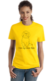 Ladies Yellow I Love my Lhasa Apso - Lhasa Apso Owner Lover Parent Cute Dog T-shirt