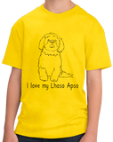 Youth Yellow I Love my Lhasa Apso - Lhasa Apso Owner Lover Parent Cute Dog T-shirt