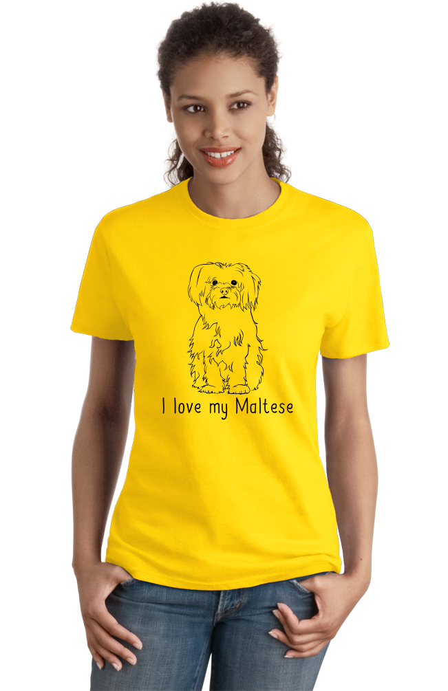 Ladies Yellow I Love my Maltese - Maltese Cute Fluffy Dog Owner Lover Fun Gift T-shirt