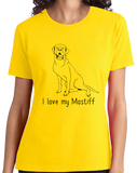 Ladies Yellow I Love my Mastiff - Mastiff Dog Owner Lover Parent Cute Love T-shirt