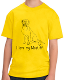 Youth Yellow I Love my Mastiff - Mastiff Dog Owner Lover Parent Cute Love T-shirt