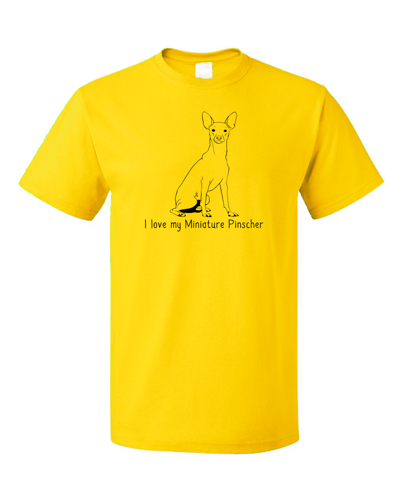 Standard Yellow I Love my Miniature Pinscher - MinPin Owner Love Parent Cute Dog T-shirt