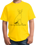 Youth Yellow I Love my Miniature Pinscher - MinPin Owner Love Parent Cute Dog T-shirt