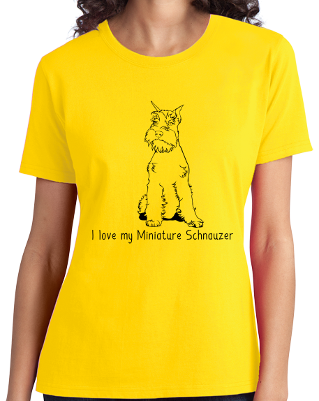 Ladies Yellow I Love my Minature Schnauzer - Mini Schnauzer Cute Owner Love T-shirt