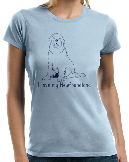 Ladies Light Blue I Love my Newfoundland - Newfoundland Owner Cute Lover Pet T-shirt