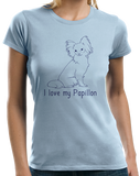 Ladies Light Blue I Love my Papillon - Papillon Lover Owner Parent Cute Dog T-shirt