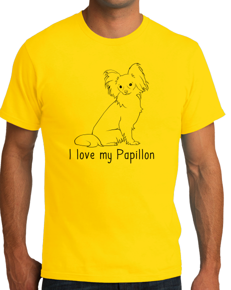 Standard Yellow I Love my Papillon - Papillon Lover Owner Parent Cute Dog T-shirt