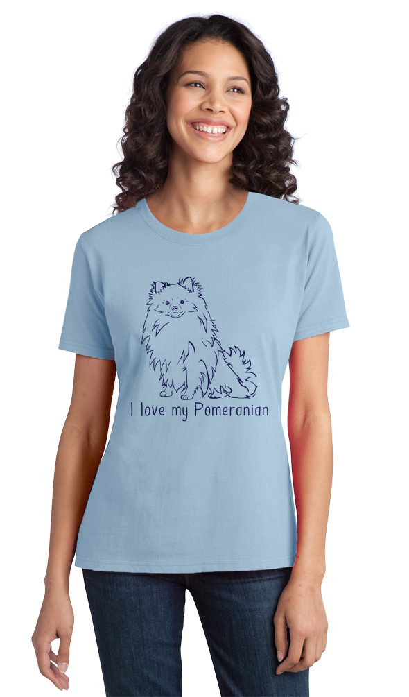 Ladies Light Blue I Love my Pomeranian - Pomeranian Love Owner Cute Dog Parent T-shirt