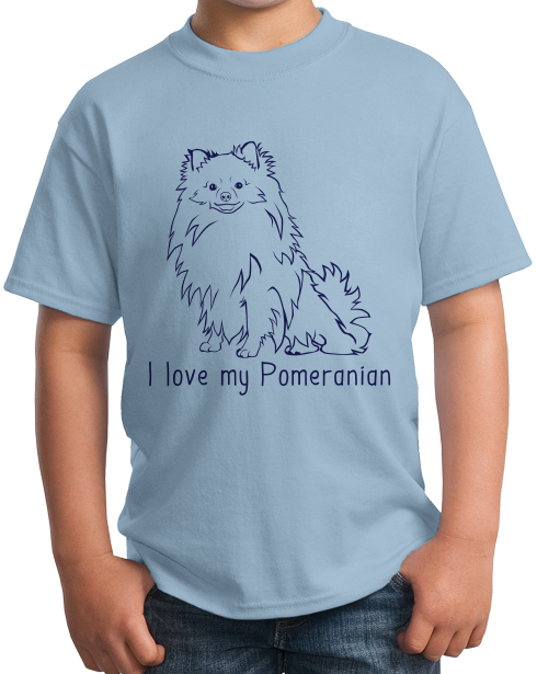 Youth Light Blue I Love my Pomeranian - Pomeranian Love Owner Cute Dog Parent T-shirt