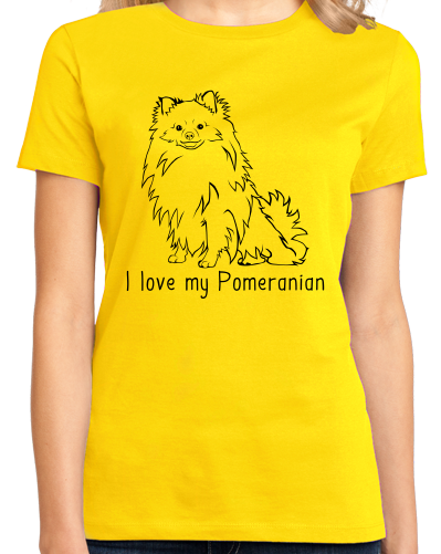 Ladies Yellow I Love my Pomeranian - Pomeranian Love Owner Cute Dog Parent T-shirt
