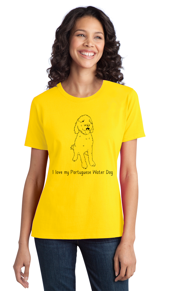 Ladies Yellow I Love my Portugese Water Dog - Portugese Water Dog Owner Love T-shirt