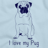 I Love My Pug Light blue Art Preview