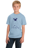 Youth Light Blue I Love my Pug - Pug Dog Lover Parent Owner Love Cute Funny T-shirt
