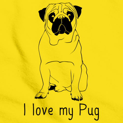 I Love My Pug Yellow Art Preview