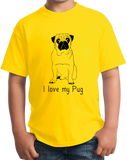 Youth Yellow I Love my Pug - Pug Dog Lover Parent Owner Love Cute Funny T-shirt