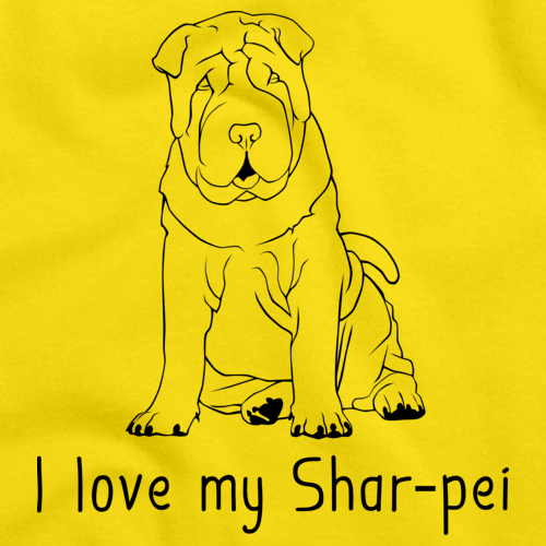 I Love My Shar Pei Yellow Art Preview