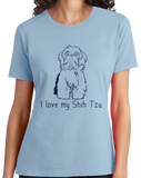 Ladies Light Blue I Love my Shih Tzu - Shih Tzu Dog Cute Love Owner Fun Gift T-shirt
