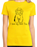 Ladies Yellow I Love my Shih Tzu - Shih Tzu Dog Cute Love Owner Fun Gift T-shirt