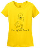 Ladies Yellow I Love my Saint Bernard - St. Bernard Owner Lover Dog Gift Cute T-shirt