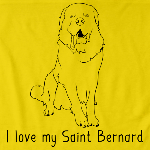 I Love My Saint Bernard Yellow Art Preview
