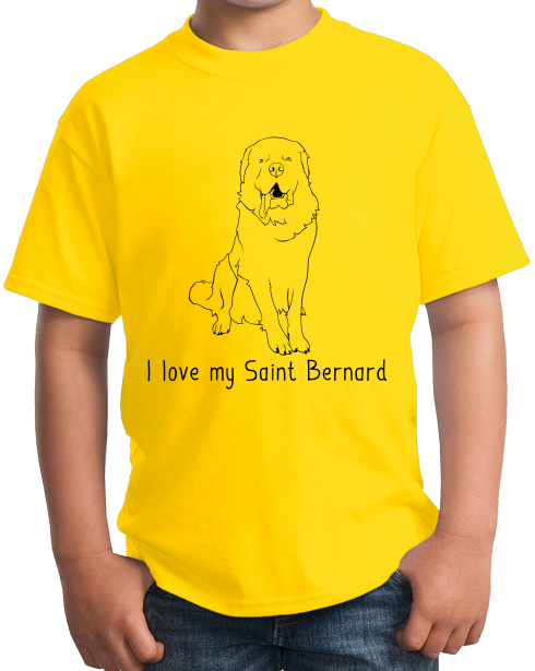 Youth Yellow I Love my Saint Bernard - St. Bernard Owner Lover Dog Gift Cute T-shirt