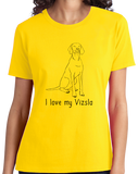 Ladies Yellow I Love my Vizsla - Vizsla Owner Lover Dog Gift Cute Love Fun T-shirt