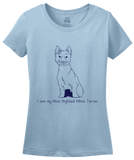 Ladies Light Blue I Love my West Highland White Terrier - Westie Owner Love Cute T-shirt