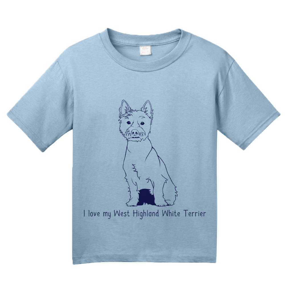 Youth Light Blue I Love my West Highland White Terrier - Westie Owner Love Cute T-shirt