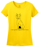 Ladies Yellow I Love my West Highland White Terrier - Westie Owner Love Cute T-shirt