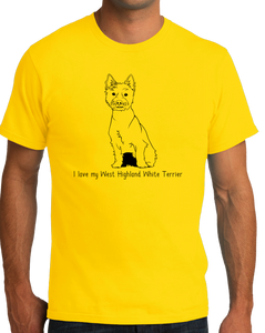 Standard Yellow I Love my West Highland White Terrier - Westie Owner Love Cute T-shirt