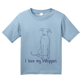 Youth Light Blue I Love my Whippet - Whippet Owner Lover Cute Dog Love Fun Gift T-shirt