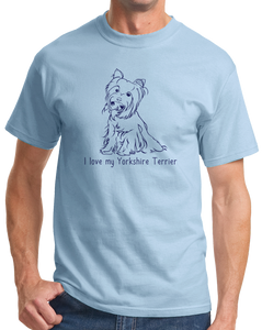 Standard Light Blue I Love my Yorkie - Yorkie Owner Lover Cute Dog Love Fun Gift T-shirt