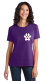 Ladies Purple Puppy Love Paw Heart - Dog Puppy Love Lovers Cute Gift Perfect T-shirt