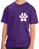Youth Purple Puppy Love Paw Heart - Dog Puppy Love Lovers Cute Gift Perfect T-shirt
