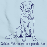 GOLDEN RETRIEVERS ARE PEOPLE, TOO! Light blue Art Preview